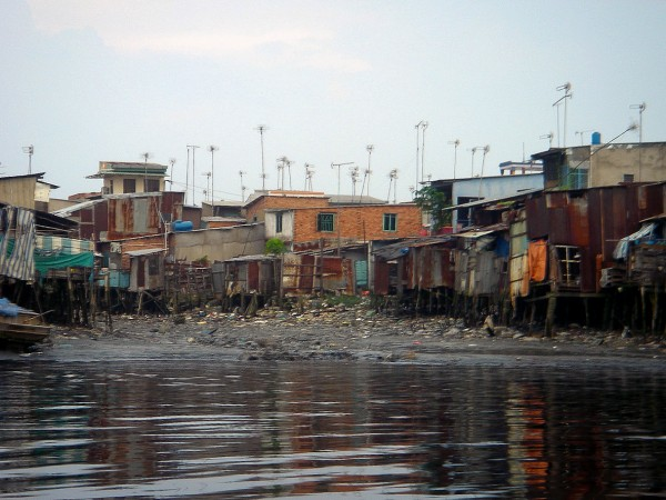 Poverty on the Black River Mekong Vietnam