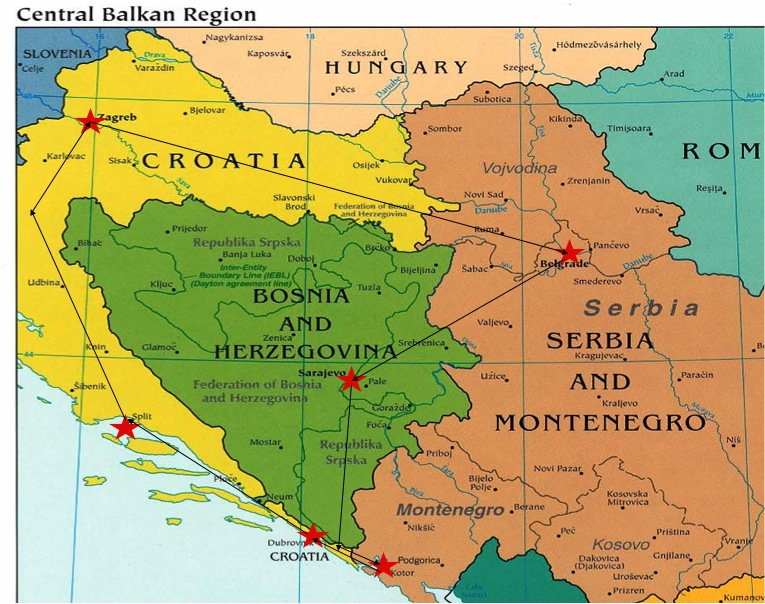 Croatia is yellow, Bosnia is green, and Serbia is brown/pink/redish color.