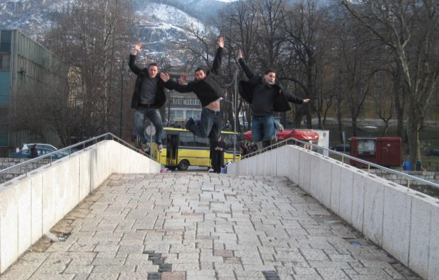 Jumping on Latin Bridge in Sarajevo, Bosnia and Herzegovina