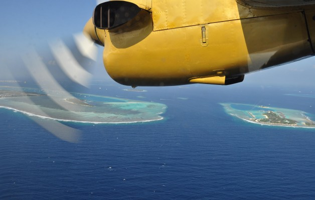 Sea Plane over Maldives Atolls