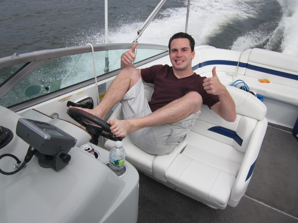 Mike Drives speed Boat with Feet