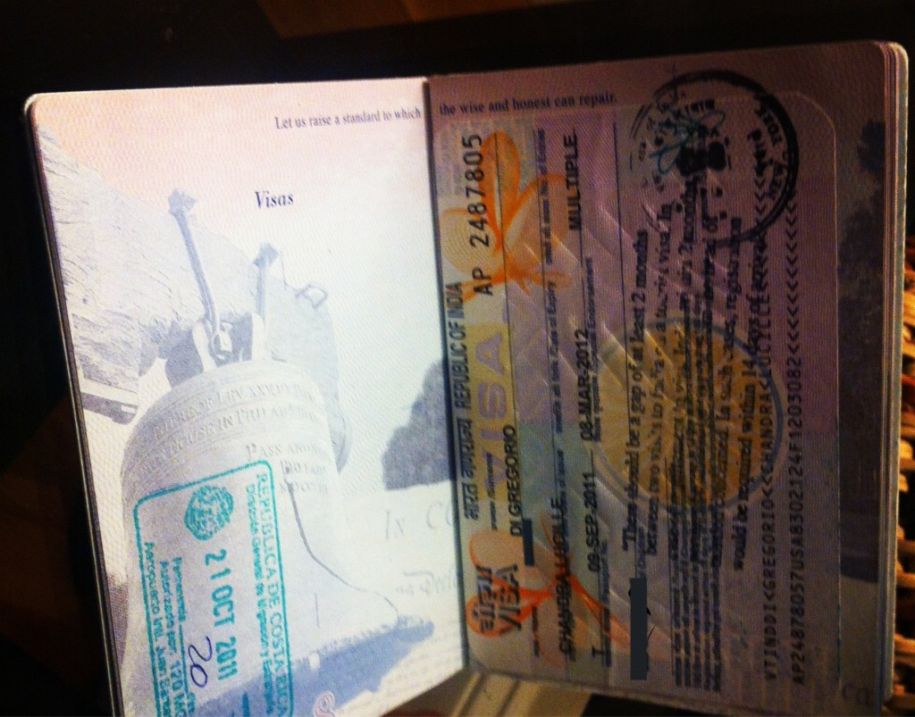 Indian visa in passport next to Costa Rica entry stamp