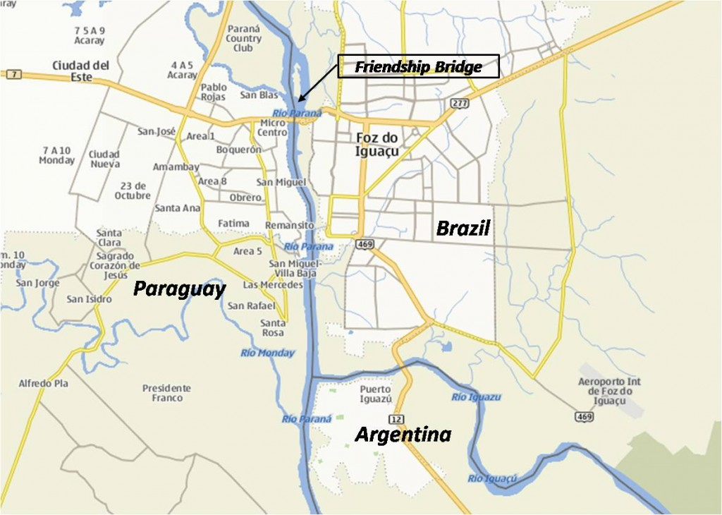 Triple Frontier: Brazil Paraguay and Argentina Map