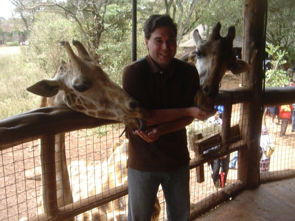 Dave having fun with some giraffe at the Langata Giraffe Center in Nairobi Kenya.  Check out that tongue!