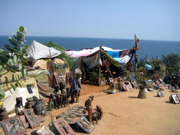 Art shanties overlooking the ocean on Goree Island in Senegal