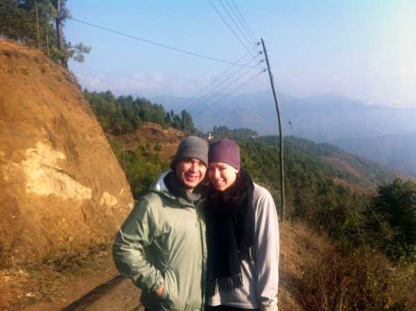 Dave & Chandra  overlooking the Nepalese mountains high up in Chisapani