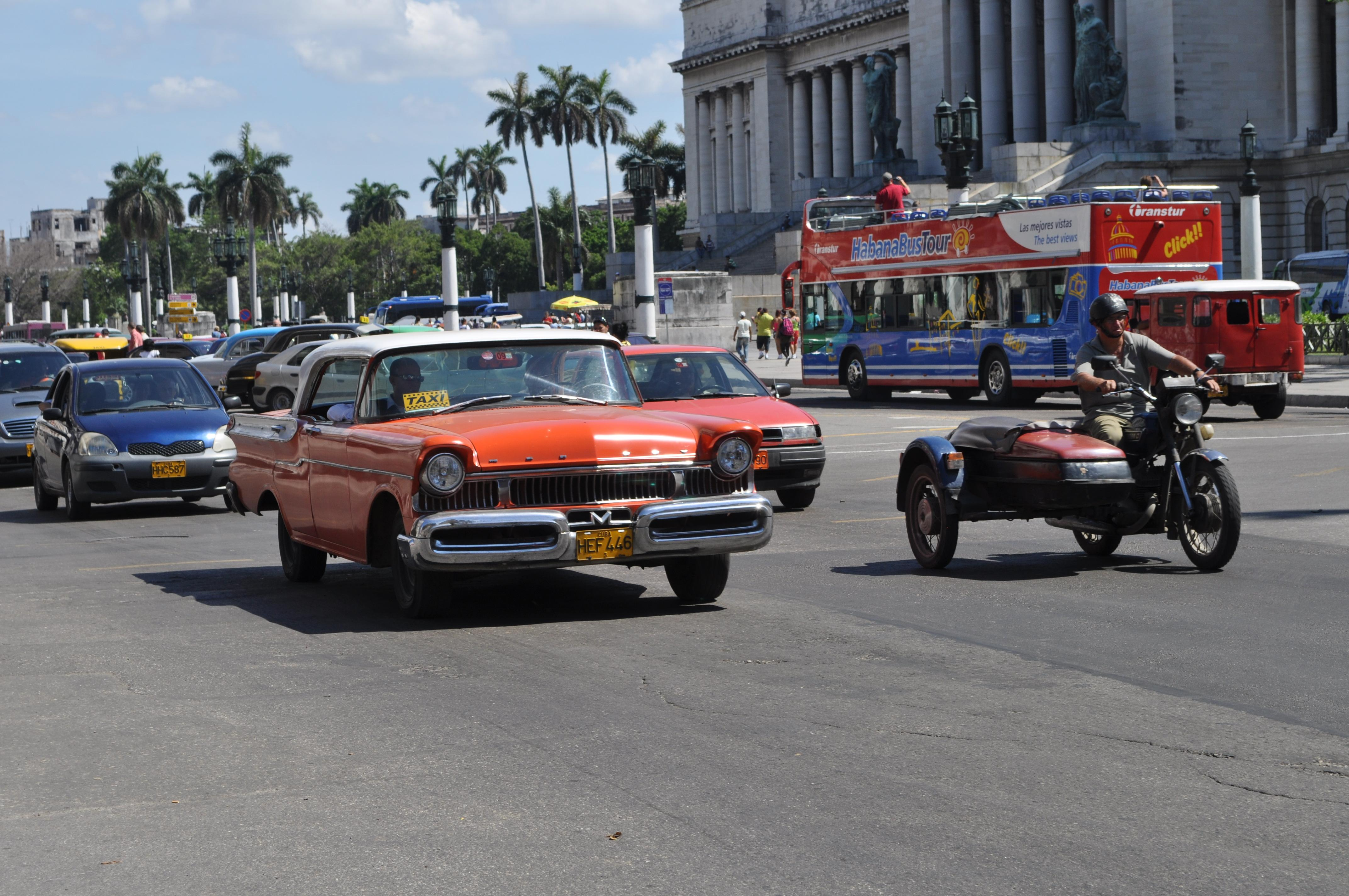 Traffic in Havana Cuba has basically looked exactly the same since the early 1960's