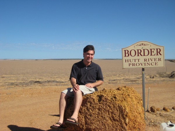 Perched atop the border post between the Commonwealth of Australia and the Principality of Hutt River