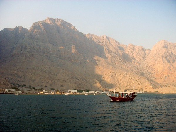 Dhow near fishing village somewhere in the fjords of Oman