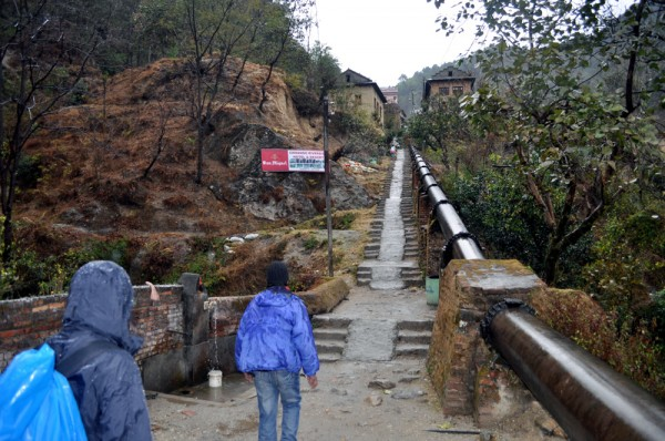 Endless stairs begin in Sundarijal heading towards Chisapani