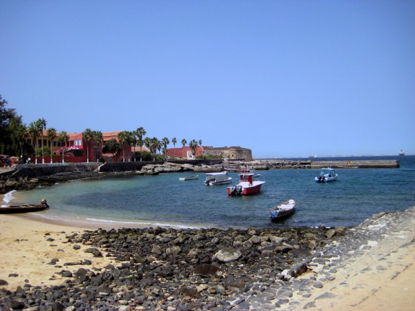 The beautiful beach at the Port of Goree Island in Senegal