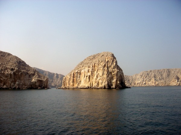 Typical landscape of Musandam Oman.  Rock meets ocean.