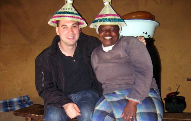Me and my Basotho friend in her hut in Lesotho