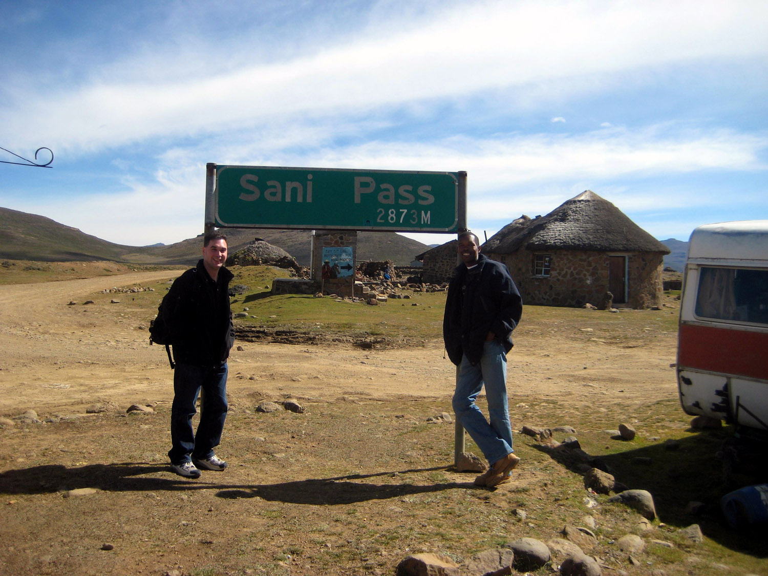 Posing at the summit of the Sani Pass - finally in Lesotho