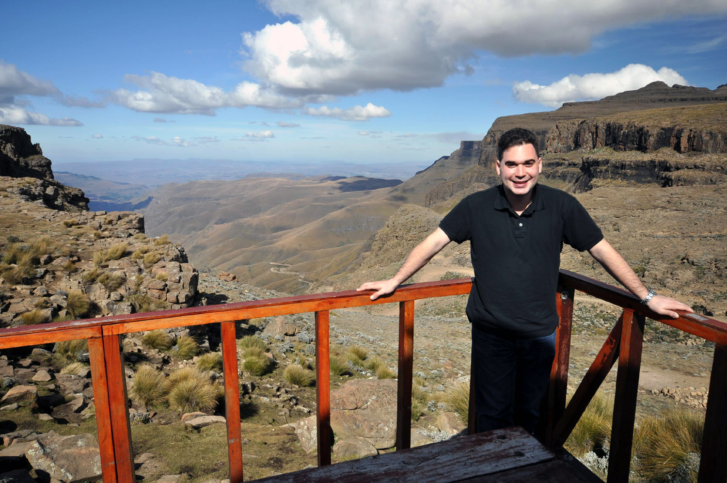Dave overlooking the Sani Pass in South Africa from the Sani Top Chalet in Lesotho