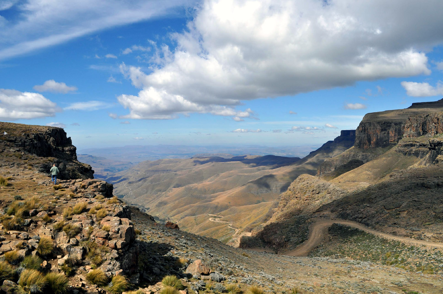 Beautiful view of the Sani Pass and Drakensberg Mountains from the top of the Sani Pass