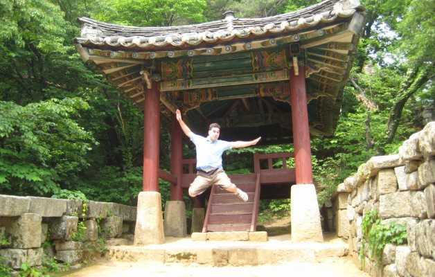 Jumping for joy in North Korea - can you believe I took this with the timer on the very first try?  Oh and Bakyeon Waterfall Pavillion behind me is pretty cool too.