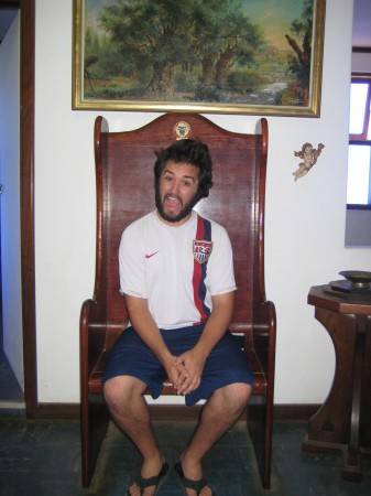 My friend Travis poses in the throne of HRH Prince Leonard of Hutt River