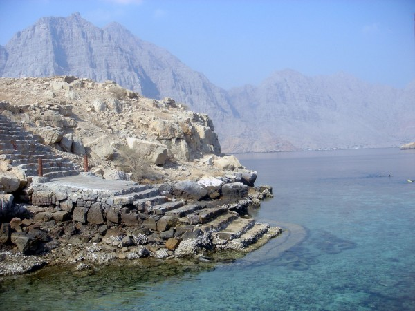 "Telegraph island off the coast of Oman.  Once the site of a British telegraph station and origin of expression ""around the bend"""