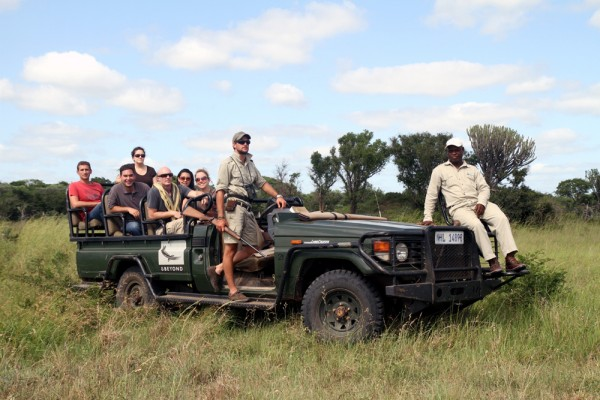 Dave and company in the open-air Land Rover of &Beyond Phinda Private Game Reserve in KwaZulu-Natal South Africa