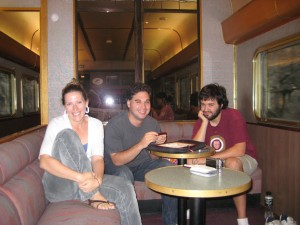 Me with my dear friends Becca and Travis in our usual booth aboard the Indian Pacific with Scrabble all set up
