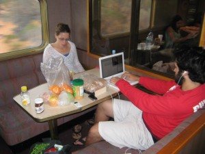 A snapshot of life on the Indian Pacific.  Laptops, fruit, Nutella and desolation passing by out the window