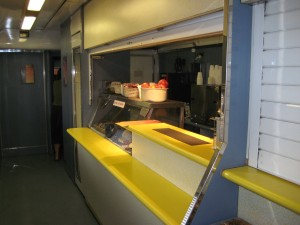 "Cafe car aboard Indian Pacific ""Red"" class"