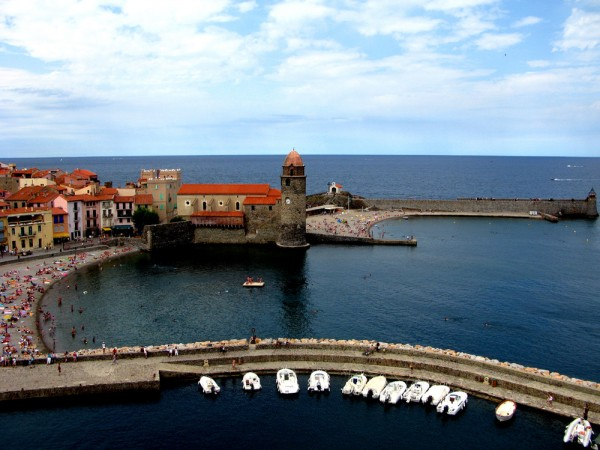 Château Royal de Collioure of the Castle of Collioure juts out into the Mediterranean Sea