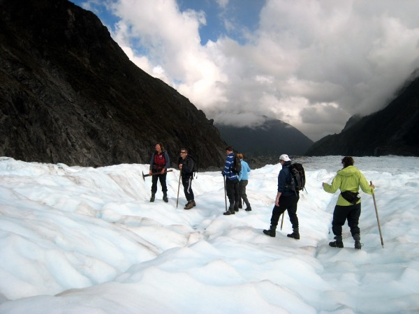 Setting out across Fox Glacier is definitely a team effort.
