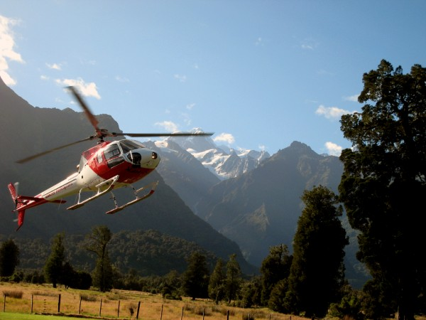 Taking off in the helicopter en route to Fox Glacier for a heli-hike!