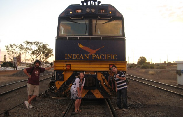 Taking a moment with the Indian Pacific locomotive in Broken Hill