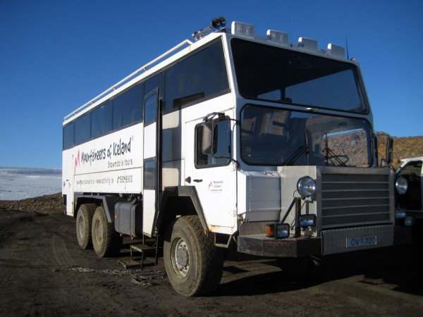 Monster-Truck-Bus is the only way to get down to the glacial ice