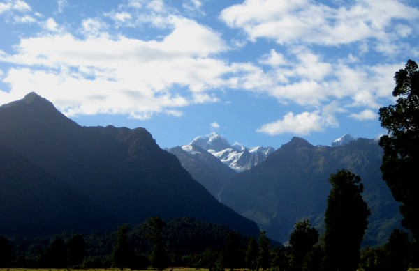 Fox Glacier is perched between New Zealand's Mount Tasman and Mount Cook.