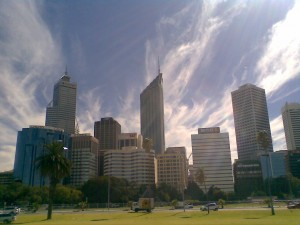 The Perth skyline with some dramatic clouds