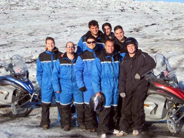 Our group on the Langjökull Glacier part-way through our snowmobile adventure