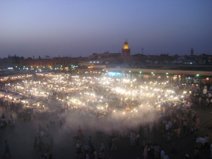 Jemaa el-Fnaa Marrakech Morocco at Night from Above