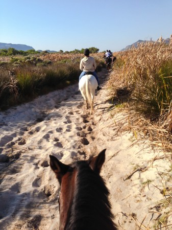 Crossing the dunes on to Noordhoek beach on horseback