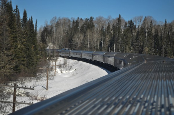 The Canadian Via Rail Bends Through Ontario Forrest