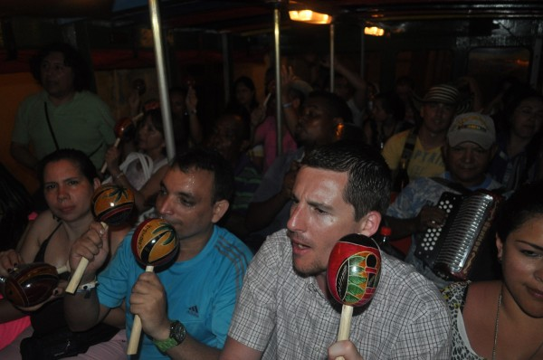 Maracas abound aboard the Chiva bus