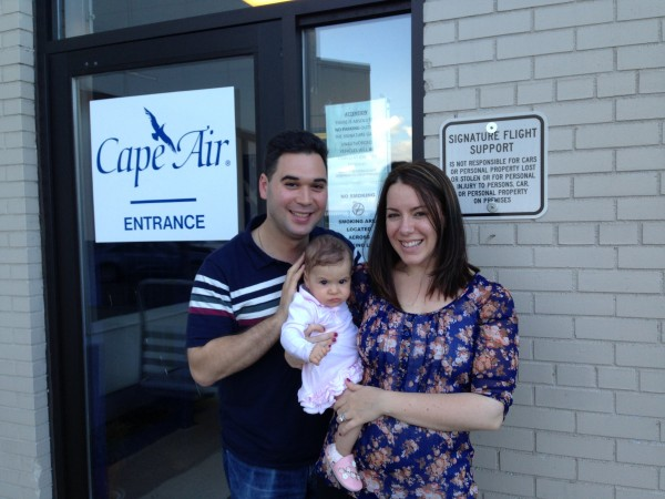 Our little family outside Cape Air's lounge at Westchester County Airport just 35 minutes from New York City.