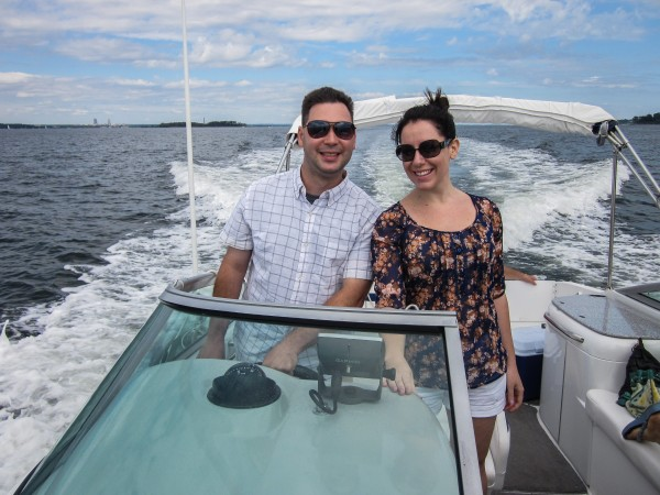 Chandra and I at the helm as we depart Port Washington and head towards New York City