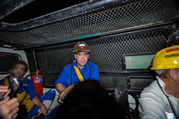 Riding in the back of a pick-up truck...a half mile underground...in a diamond mine