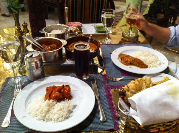 Indian food at The Moghul Room at The Mena House in Giza, Egypt
