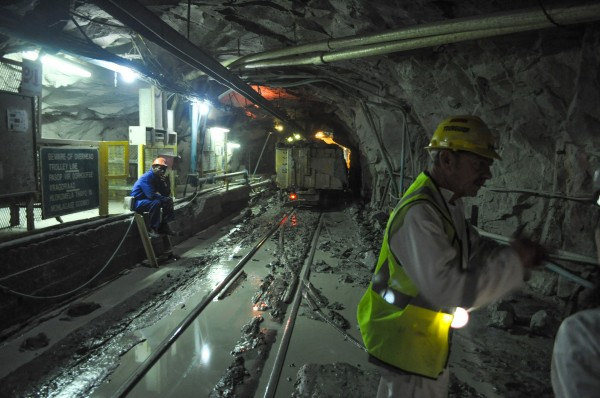 Kimberlite being loaded on to an underground train
