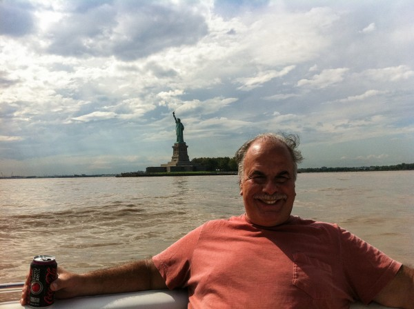 Dad enjoys a cold Coke Zero with the Statue of Liberty
