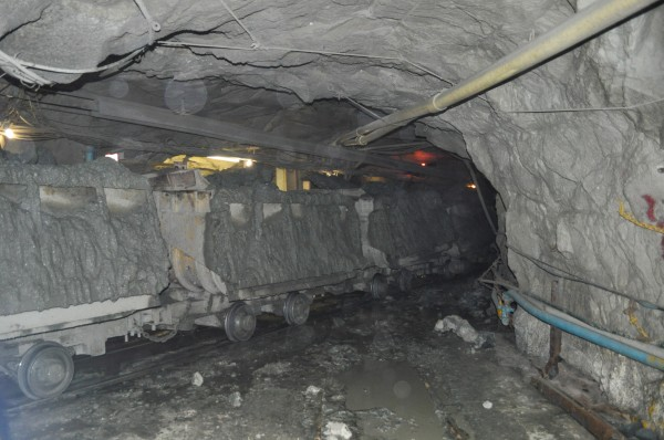 Underground train transporting kimberlite ore