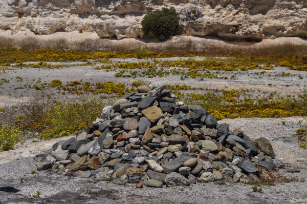 Rock pile started by Nelson Mandela and added to by former prisoners, one rock each, at reunion