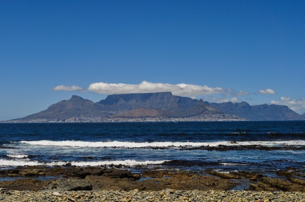 The view of Cape Town and Table Mountain from Robben Island