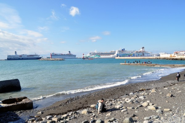 The Black Sea at Sochi Seaport currently playing host to cruise ships for the 2014 Winter Olympics.