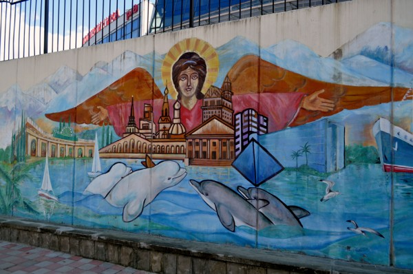 Street art isn't contained to sculpture. This mural sits just a block from Sochi Train Station and says a lot about how the coastal city views itself.